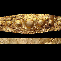 Mycenaean Gold diadems from Grave IV, Grave Circle A, Myenae, Greece. National Archaeological Museum Athens. 16th Cent BC. Black Background<br /> <br /> Top: Mycenaean Gold diadem with repousse circles and rosettes Cat No 232<br /> <br /> Bottom: Elegant Mycenaean gold daidem with fastening loops and dotted decoration. Three diamond shaped pendant hung from chains. Cat no 236.