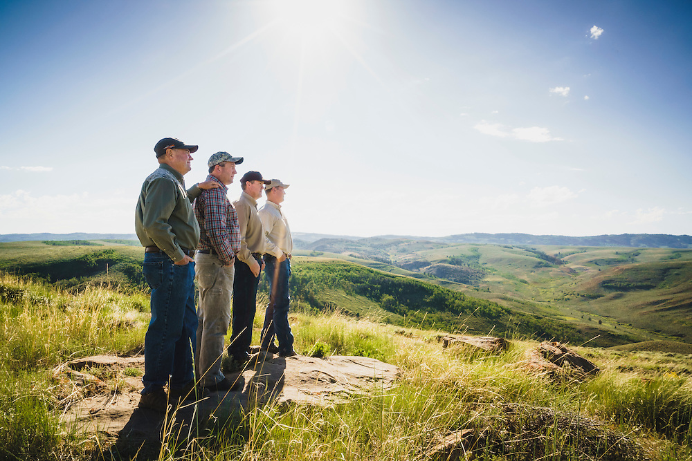 Birch Creek easement and conservation was made possible with help from the Rocky Mountain Elk Foundation. Landowner Allen Barber, landowner Andrew Barber, DWR biologist Scott Walker, , and landowner Dan Dyger, look down on Birch Creek from Strawberry Ridge, Utah.