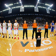 Anadolu Efes's and Olympiacos Piraeus's players during their Turkish Airlines Euroleague Basketball Top 16 Round 5 match Anadolu Efes between Olympiacos Piraeus at Abdi ipekci arena in Istanbul, Turkey, Thursday January 29, 2015. Photo by Aykut AKICI/TURKPIX