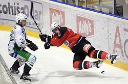 Pasi Petrilainen vs Tomaz Razingar at 52nd round of EBEL league ice hockey match between HK Acroni Jesenice and HDD Tilia Olimpija, on January 29, 2009, in Podmezaklja, Jesenice, Slovenia. Acroni Jesenice won 5:3. (Photo by Vid Ponikvar / Sportida)