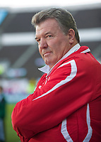 HELSINKI, FINLAND - Saturday, October 10, 2009: Wales' manager John Toshack MBE during the 2010 FIFA World Cup Qualifying Group 4 match against Finland at the Olympic Stadium. (Pic by David Rawcliffe/Propaganda)