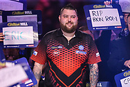 Michael Smith during the walk-on during the World Darts Championships 2018 at Alexandra Palace, London, United Kingdom on 28 December 2018.