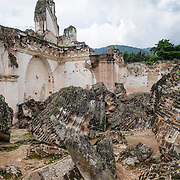 Enormous blocks of Masonry at the ruins of the Iglesia y Convento de La Recolección in Antigua, Guatemala. The church was destroyed by the earthquake of 1773.