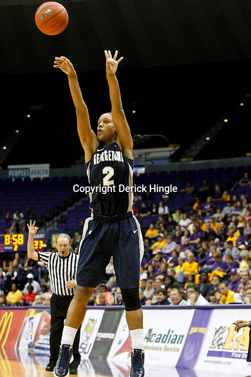 November 16, 2011; Baton Rouge, LA; Georgetown Hoyas forward Tia Magee (2) shoots against the LSU Tigers during the second half of a game at the Pete Maravich Assembly Center. LSU defeated Georgetown 51-40. Mandatory Credit: Derick E. Hingle-US PRESSWIRE