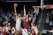 Southern California Trojans forward Isaiah Mobley (3) is defended by Stanford Cardinal forward Max Murrell (10) during an NCAA men's basketball game against the Stanford Cardinal, Wednesday, March 3, 2021, in Los Angeles. USC defeated Stanford 79-42. (Jon Endow/Image of Sport)