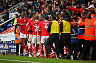 Barnsley players celebrate  the second Barnsley goal scored by Barnsley midfielder Brad Potts (20)  during the EFL Sky Bet League 1 match between Peterborough United and Barnsley at The Abax Stadium, Peterborough, England on 6 October 2018.
