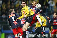 FOOTBALL - FRENCH CUP 2009/2010 - 1/2 FINAL - US QUEVILLY v PARIS SAINT GERMAIN - 14/04/2010 - PHOTO ERIC BRETAGNON / DPPI - GUILLAUME HOARAU (PSG) / JORIS COLINET (QUE)