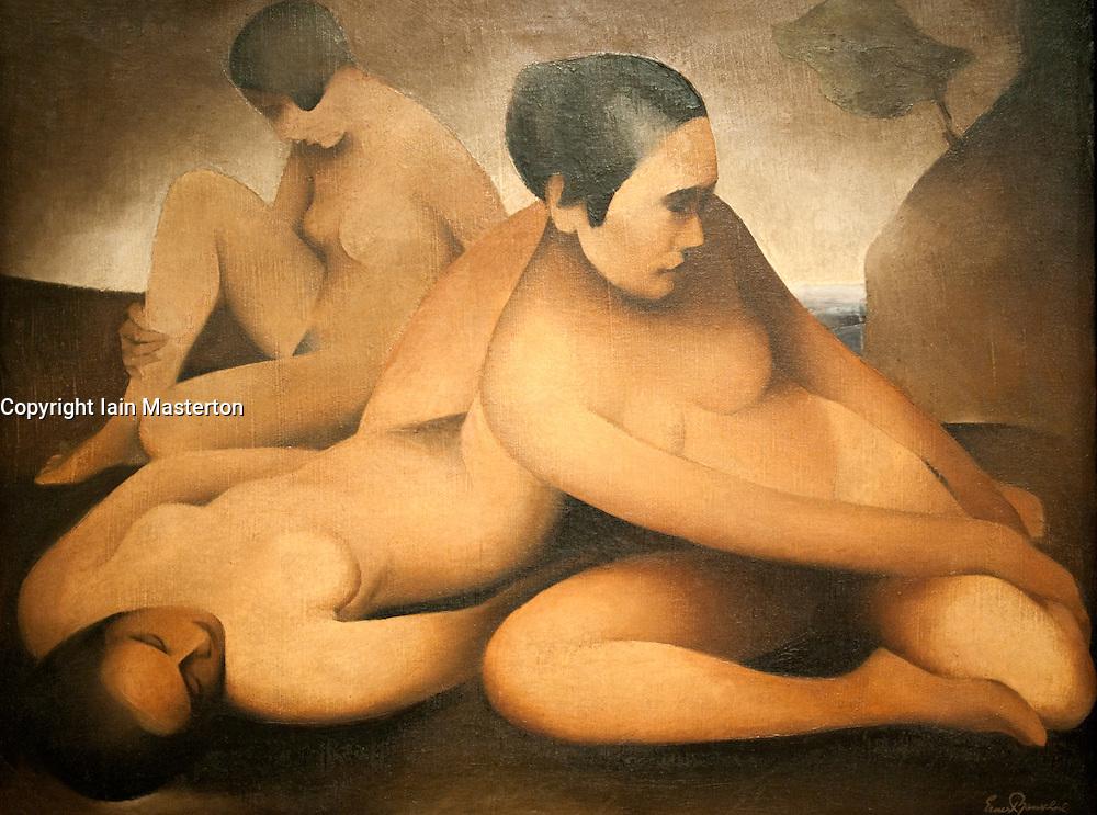 Painting the Ruhende Frauen by Ernst Neuschul at Berlinische Galerie modern art museum in  Berlin Germany
