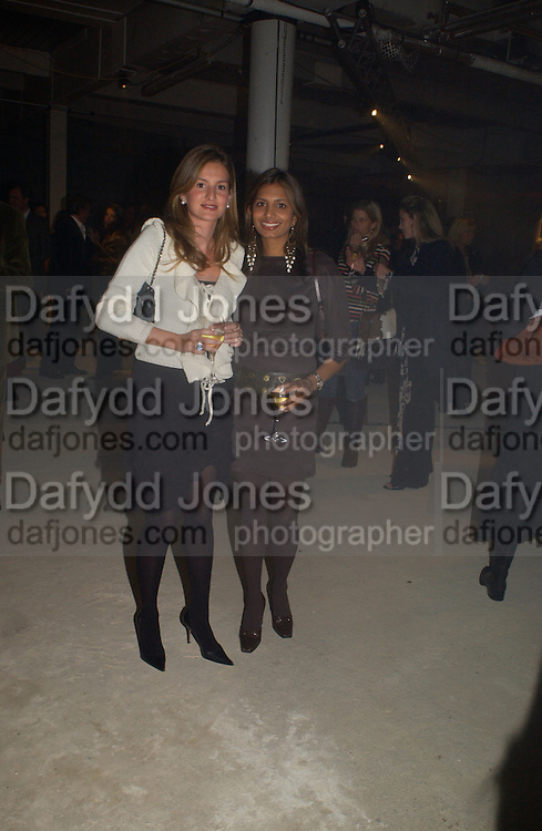 Laura Pigorini and  Divia Lalvani. Exhibition of furniture by Rolf Sachs,  Looise Guinness Gallery, 250 Brompton Rd. ONE TIME USE ONLY - DO NOT ARCHIVE  © Copyright Photograph by Dafydd Jones 66 Stockwell Park Rd. London SW9 0DA Tel 020 7733 0108 www.dafjones.com