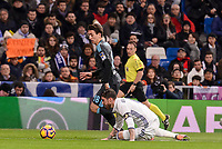 Real Madrid's Sergio Ramos and Real Sociedad's Mikel Oyarzabal during La Liga match between Real Madrid and Real Sociedad at Santiago Bernabeu Stadium in Madrid, Spain. January 29, 2017. (ALTERPHOTOS/BorjaB.Hojas)
