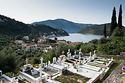 The cemetery at Gardeaki church. Vathy, Ithaca. Greece. The Greek island is situated in the Ionian Sea off the northeast coast of Kefalonia. Since antiquity, Ithaca has been identified as the home of the mythological hero Odysseus.