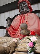 Japan, Honshu, Nara, Todai-Ji Temple Old Wooden Buddah statue