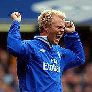 Chelsea's Eidur Gudjohnsen celebrates scoring his second goal