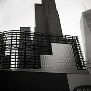 The iron skelaton of an old billboard in Times Square