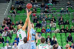 Jordan Morgan of Petrol Olimpija and Marjan Cakarun of Sixt Primorska during basketball match between KK Petrol Olimpija and KK Sixt Primorska in Playoffs of Liga Nova KBM, on March 30, 2018 in Arena Stozice, Ljubljana, Slovenia. Photo by Ziga Zupan / Sportida