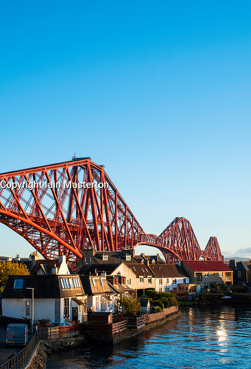 View of North Queensferry and the famous Forth Rail Bridge  spanning the Firth of Forth between Fife and West Lothian in Scotland,United Kingdom.