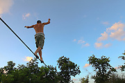 Tight rope walking as seen from below