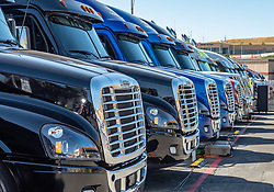 June 22, 2018 - Sonoma, CA, U.S. - SONOMA, CA - JUNE 22:  Crew trucks lined up in the pit areas on Friday, June 22, 2018 at the Toyota/Save Mart 350 Practice day at Sonoma Raceway, Sonoma, CA (Photo by Douglas Stringer/Icon Sportswire) (Credit Image: © Douglas Stringer/Icon SMI via ZUMA Press)