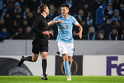 February 14, 2019 - MalmÃ, Sweden - 190214 Aleksei Kulbakov, referee in a discussion with Markus Rosenberg of Malmö FF during the Europa league match between Malmö FF and Chelsea on February 14, 2019 in Malmö..Photo: Ludvig Thunman / BILDBYRÃ…N / kod LT / 92225 (Credit Image: © Ludvig Thunman/Bildbyran via ZUMA Press)