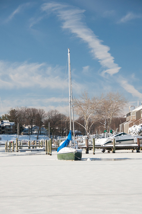 View across frozen river