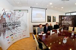 Spela Predan, Matjaz Rakovec, Dejan Kontrec and Robert Verlic at Press Conference of HZS before World Championship 2011, Slovakia, on March 30, 2011 at Hala Tivoli, Ljubljana, Slovenia. (Photo By Matic Klansek Velej / Sportida.com)