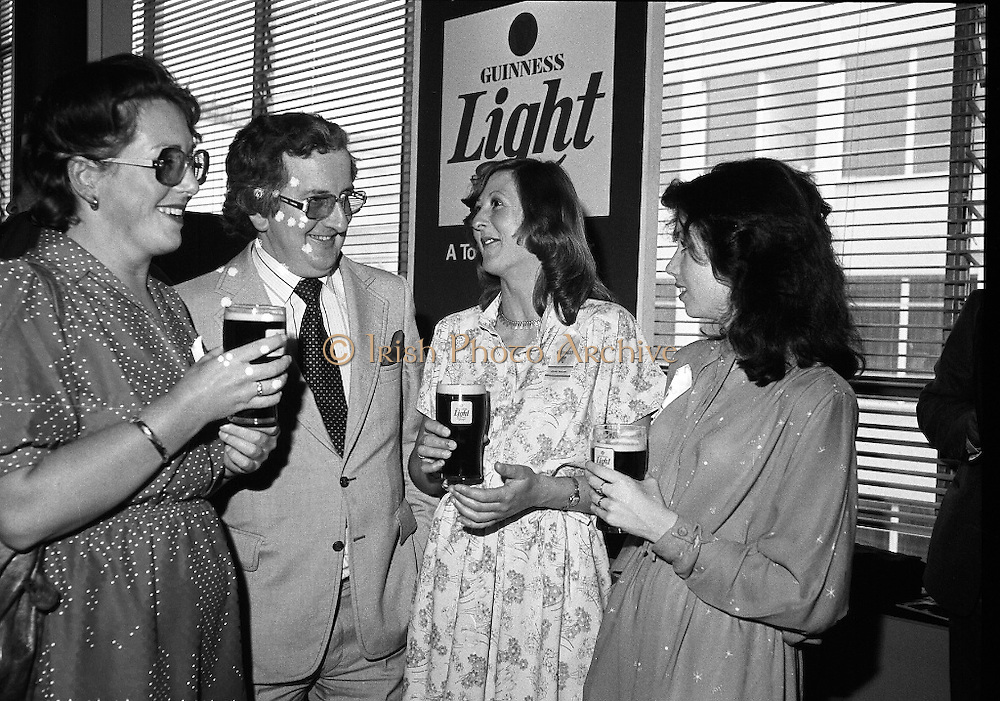 """Guinness Launch """"Guinness Light"""".  (M79)..1979..26.06.1979..06.26.1979..26th June 1979..At the Guinness Theatre in St James Gate Brewery,Guinness launched """"Guinness Light"""". With a spectacular show Guinness brought to the market a new lighter version of its world famous stout. it is hoped that it will fill a niche with younger drinkers frequenting Ireland's pubs and clubs..Pictured at the Guinness Light launch were Adrianne Griffin, Guinness, Jim Flannery, Chief Executive, Irish Hotels Federation, Anne Brady, G.G.S.I. and Marian Mollaghan C.G.S.I."""