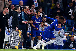 Chelsea manager Maurizio Sarri looks angry as Callum Hudson-Odoi of Chelsea replaces Pedro of Chelsea - Mandatory by-line: Robbie Stephenson/JMP - 18/04/2019 - FOOTBALL - Stamford Bridge - London, England - Chelsea v Slavia Prague - UEFA Europa League Quarter Final 2nd Leg