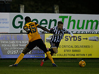 Football - 2020 / 2021 Emirates FA Cup - Round Four: Chorley vs. Wolverhampton Wanderers<br /> <br /> Elliot Newby of Chorley goes past Willy Boly of Wolverhampton Wanderers, at Victory Park.<br /> <br /> COLORSPORT/ALAN MARTIN