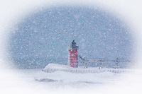 South Haven, Mi Lighthouse scene shot during a heavy lake-effect snow storm