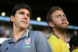 24 August 2016 - EFL Cup - 2nd Round - Fulham v Middlesbrough - Aitor Karanka manager of Middlesbrough (L) alongside one of his coaching staff - Photo: Marc Atkins / Offside.