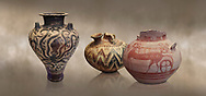 Mycenaean pots and vases depicting octopuses and Mycenaean chariots, National Archaeological Museum Athens.<br /> <br /> Left: Three handled Palace Style Mycenaean amphora with octpuses and marinescape decorations motifs, Mycenaean cemetery, Argive Prosymna, tomb 2, 15 cnt BC,  Cat no 6725. <br /> <br /> Middle: Mycenaean three handled styrup jar with painted zig zag  and double axesdesigns, Tholos tomb 2 , Myrsinochori, Messenia, 15th cent BC. Cat No 8376.<br /> <br /> Right:Mycenaean pictorial Krater decorated with a horse and chariot, Tiryns Acropolis - 12-14th cent BC.  Cat No 115. .<br /> <br /> If you prefer to buy from our ALAMY PHOTO LIBRARY  Collection visit : https://www.alamy.com/portfolio/paul-williams-funkystock/mycenaean-art-artefacts.html . Type -   Athens    - into the LOWER SEARCH WITHIN GALLERY box. Refine search by adding background colour, place, museum etc<br /> <br /> Visit our MYCENAEN ART PHOTO COLLECTIONS for more photos to download  as wall art prints https://funkystock.photoshelter.com/gallery-collection/Pictures-Images-of-Ancient-Mycenaean-Art-Artefacts-Archaeology-Sites/C0000xRC5WLQcbhQ