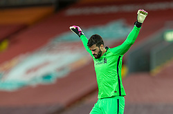LIVERPOOL, ENGLAND - Sunday, December 27, 2020: Liverpool's goalkeeper Alisson Becker before the FA Premier League match between Liverpool FC and West Bromwich Albion FC at Anfield. The game ended in a 1-1 draw. (Pic by David Rawcliffe/Propaganda)