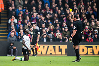 LONDON, ENGLAND - MARCH 31: yellow card for, (19) Sadio Mané of Liverpool during the Premier League match between Crystal Palace and Liverpool at Selhurst Park on March 31, 2018 in London, England.