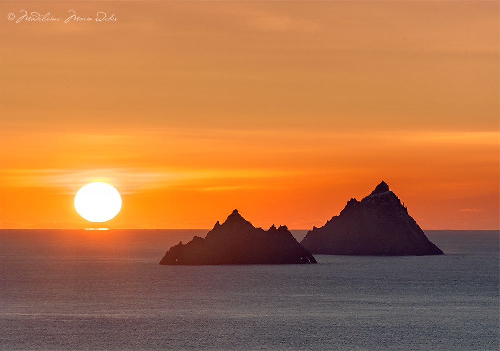 Mystical Skelligs Sunset, County Kerry, Ireland - The Wild Atlantic Way ****** <br /> <br /> Visit & browse through my Photography & Art Gallery, located on the Wild Atlantic Way & Skellig Ring between Waterville and Ballinskelligs (Skellig Coast R567), only 3 minutes from the main Ring of Kerry road.<br /> https://goo.gl/maps/syg6bd3KQtw<br /> <br /> ******<br /> <br /> Contact: 085 7803273 from an Irish mobile phone or +353 85 7803273 from an international mobile phone