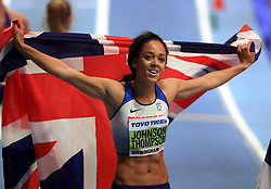 Great Britain's Katarina Johnson-Thompson celebrates winning the Women's Pentathlon 800m and gold in the overall Women's Pentathlon event during day two of the 2018 IAAF Indoor World Championships at The Arena Birmingham.