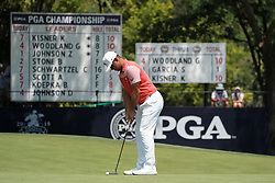 August 10, 2018 - St. Louis, Missouri, United States - Gary Woodland lines up a putt on the 9th green during the second round of the 100th PGA Championship at Bellerive Country Club. (Credit Image: © Debby Wong via ZUMA Wire)