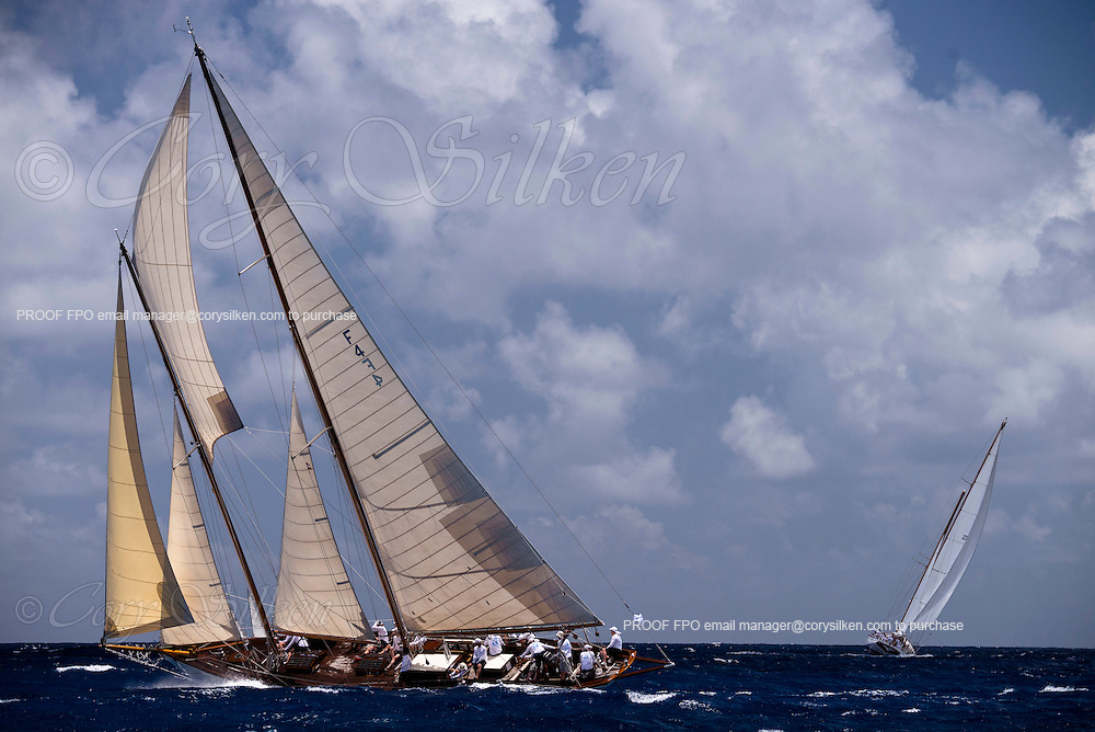Mary Rose sailing in the Old Road Race of the Antigua Classic Yacht Regatta.