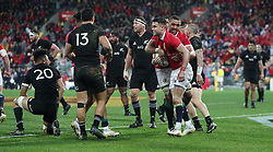 British and Irish Lions Conor Murray celebrates his try with Taulupe Faletau during the second test of the 2017 British and Irish Lions tour at Westpac Stadium, Wellington.