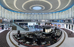 View of Fashion Avenue atrium with cafes and shops within Dubai Mall in Dubai United Arab Emirates