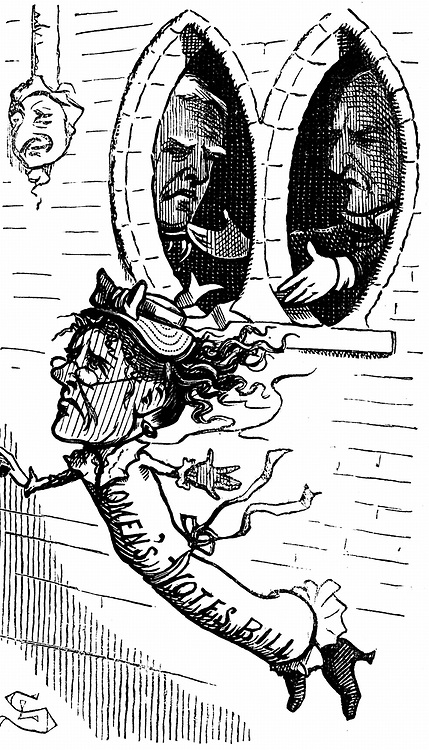 Lydia Ernestine Becker (1827-1890) British advocate of female suffrage, editor of 'Women's Suffrage Journal' 1870-90. Wrapped in the Women's Suffrage bill, being thrown out of Parliament. Cartoon from 'Punch' London 20 May 1871