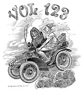 Volume 123 title page (Mr Punch driving Hermes in a motor car)