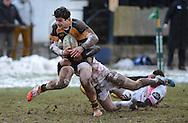 JP License<br /> BT Premiership<br /> Currie v Melrose, Maleny Park, Edinburgh<br /> <br /> Fidias  Efthymiou  of  Currie tackled by Grant Runciman of Melrose<br /> <br />  Neil Hanna Photography<br /> www.neilhannaphotography.co.uk<br /> 07702 246823