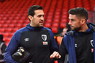 Charlie Daniels (11) of AFC Bournemouth talking with Andrew Surman (6) of AFC Bournemouth before the Premier League match between Bournemouth and West Ham United at the Vitality Stadium, Bournemouth, England on 19 January 2019.