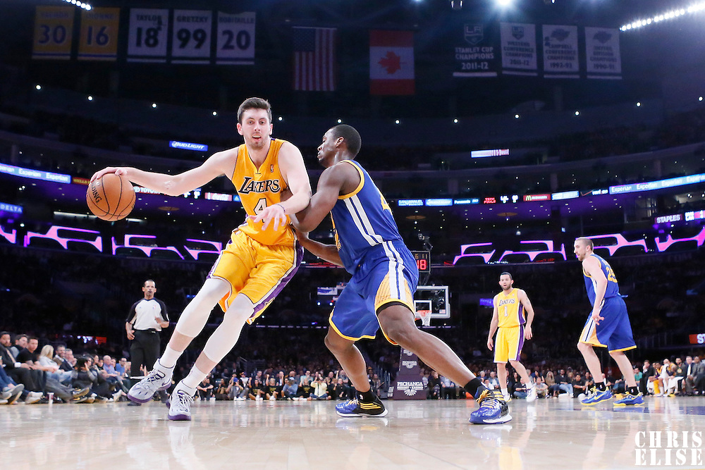 11 April 2014: Los Angeles Lakers forward Ryan Kelly (4) posts up Golden State Warriors forward Harrison Barnes (40) during the Golden State Warriors 112-95 victory over the Los Angeles Lakers at the Staples Center, Los Angeles, California, USA.