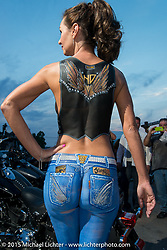 An incredibly body painteded Koanne Babel on Main Street in Sturgis during the 75th Annual Sturgis Black Hills Motorcycle Rally.  SD, USA.  August 3, 2015.  Photography ©2015 Michael Lichter.
