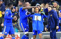 Cardiff City's Bobby Reid (second right) celebrates scoring his side's first goal of the game by holding up a Emiliano Sala commemorative t-shirt during the Premier League match at the Cardiff City Stadium.