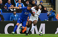 Adrian Mariappa of Watford battles with Robert Huth of Leicester city. Premier league match, Leicester City v Watford at the King Power Stadium in Leicester, Leicestershire on Saturday 6th May 2017.<br /> pic by Bradley Collyer, Andrew Orchard sports photography.
