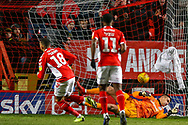 Goal 1-0 Charlton Athletic midfielder Karlan Ahearne-Grant (18) scores from the penalty spot during the EFL Sky Bet League 1 match between Charlton Athletic and Accrington Stanley at The Valley, London, England on 19 January 2019.