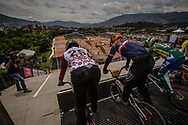 Women practice at the 2016 UCI BMX World Championships in Medellin, Colombia.