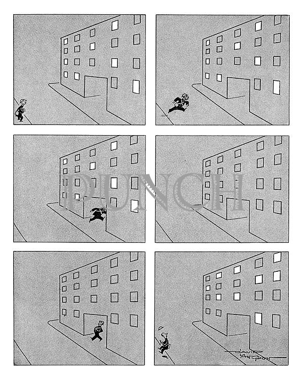 (Air raid warden running to flats)